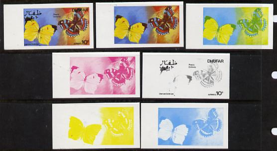 Dhufar 1977 Butterflies 10b (Dercas Gobrias & Precis Octavia) set of 7 imperf progressive colour proofs comprising the 4 individual colours plus 2, 3 and all 4-colour composites unmounted mint