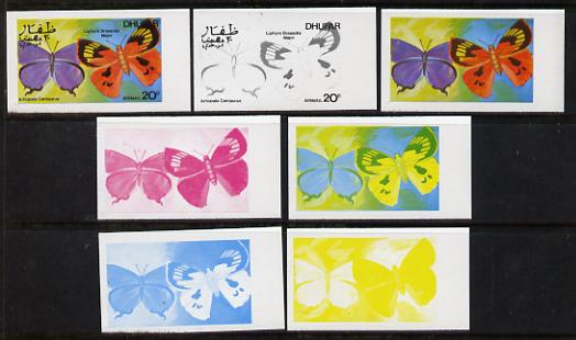 Dhufar 1977 Butterflies 20b (Arhopala C & Liphyra Brassolis Major) set of 7 imperf progressive colour proofs comprising the 4 individual colours plus 2, 3 and all 4-colour composites unmounted mint