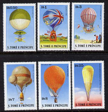 St Thomas & Prince Islands 1980 Balloons set of 6 unmounted mint