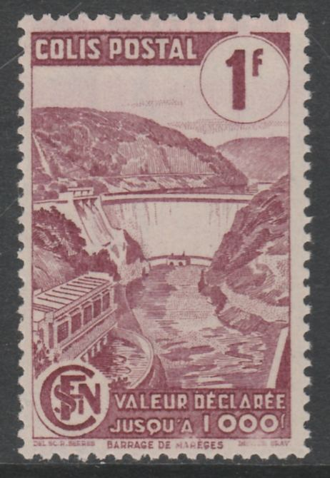France - SNCF Railway Parcel Stamp 1944 Mareges Dam 1f purple unmounted mint, Yv 216*