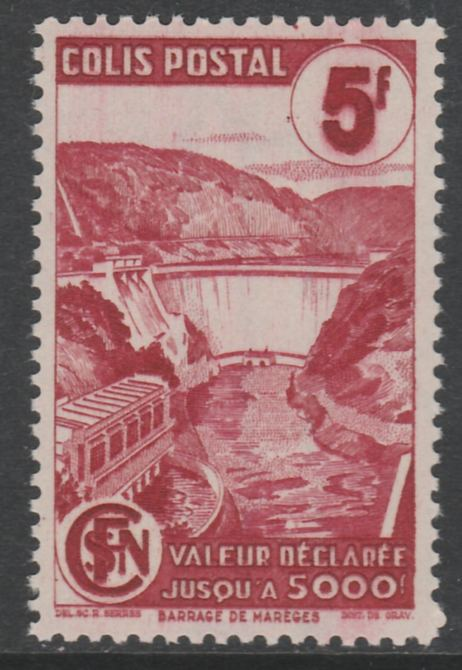 France - SNCF Railway Parcel Stamp 1944 Mareges Dam 1f carmine unmounted mint, Yv 217*