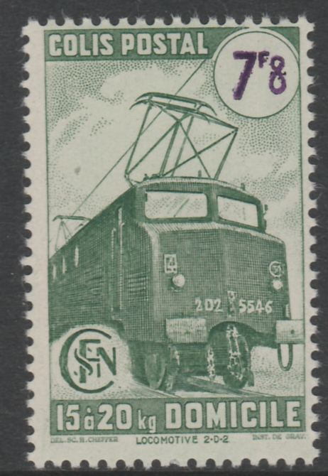 France - SNCF Railway Parcel Stamp 1945 Electric Locomotive 7f8 green & violet unmounted mint, Yv 232*