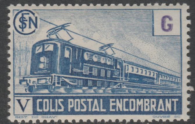 France - SNCF Railway Parcel Stamp 1945 Electric Loco blue & violet (6f6) (G in value tablet) unmounted mint Yv 224*