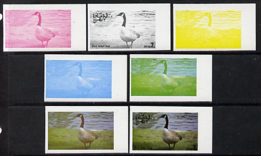 Oman 1977 Birds #2 2b (Black Necked Goose) set of 7 imperf progressive colour proofs comprising the 4 individual colours plus 2, 3 and all 4-colour composites unmounted mint
