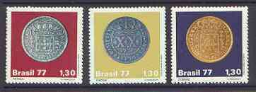 Brazil 1977 Colonial Coins set of 3 unmounted mint, SG 1676-78*