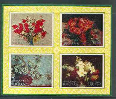 Bhutan 1969 Flowers 'Postage' m/sheet #2 containing 4 values relief printed unmounted mint, Mi BL 38