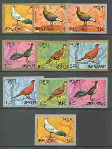 Bhutan 1968 Pheasants imperf set of 10 complete unmounted mint, Mi 179-88B