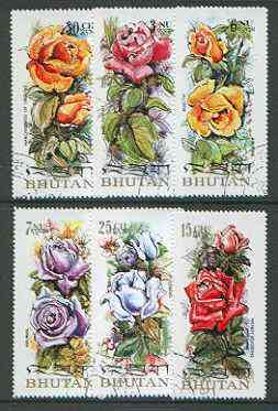 Bhutan 1973 Roses (on scented paper), perf set of 6 very fine cto used, Mi 545-50A*
