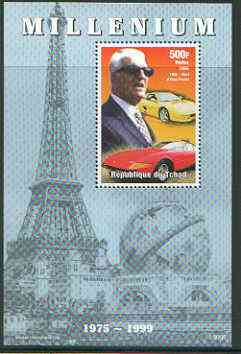 Chad 1999 Millennium - Enzo Ferrari perf m/sheet (from Millennium series) unmounted mint, stamps on personalities, stamps on cars, stamps on ferrari, stamps on millennium, stamps on eiffel tower