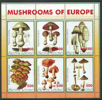 Sierra Leone 1998 Fungi sheetlet #1 containing 6 values unmounted mint