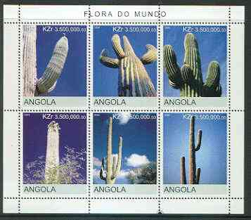 Angola 2000 Cacti sheetlet containing set of 6 values unmounted mint