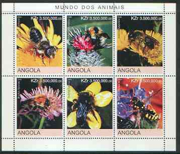 Angola 2000 Bees sheetlet containing set of 6 values unmounted mint