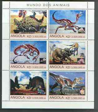 Angola 2000 Dinosaurs sheetlet containing set of 6 values unmounted mint