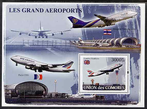 Comoro Islands 2009 Airports perf s/sheet unmounted mint, Michel BL449