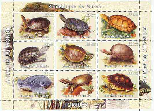 Guinea - Conakry 1998 Tortoises perf sheetlet containing set of 9 values unmounted mint