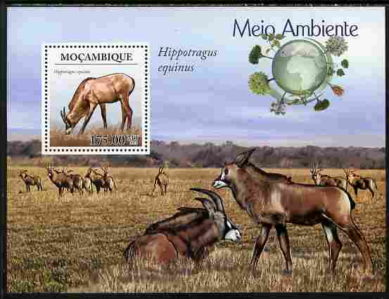 Mozambique 2010 WWF - Antelope Hippotragus equinus perf souvenir sheet unmounted mint