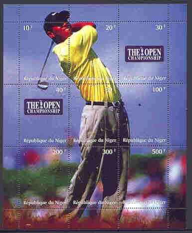 Niger Republic 1999 The Open Golf Championship composite perf sheet containing 9 values unmounted mint