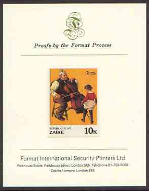 Zaire 1981 Girl Dancing to Cello by Norman Rockwell 10k imperf proof mounted on Format International proof card