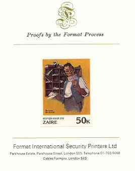 Zaire 1981 Sorter Reading Mail by Norman Rockwell 50k imperf proof mounted on Format International proof card