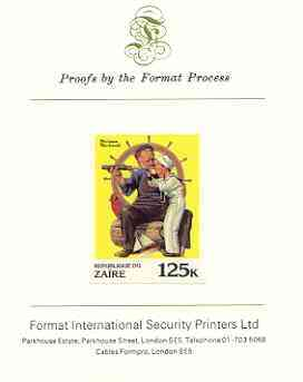 Zaire 1981 Boy Looking through Telescope with Sailor by Norman Rockwell 125k imperf proof mounted on Format International proof card