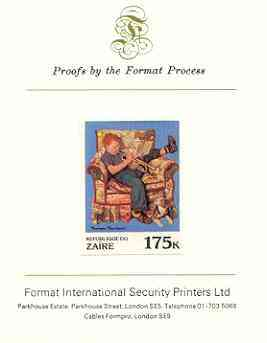 Zaire 1981 Boy in Armchair playing Trumpet by Norman Rockwell 175k imperf proof mounted on Format International proof card