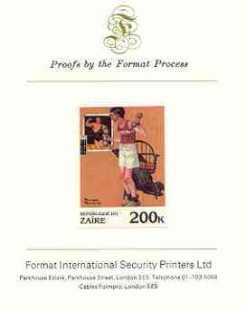 Zaire 1981 Exercising with Dumb bells by Norman Rockwell 200k imperf proof mounted on Format International proof card