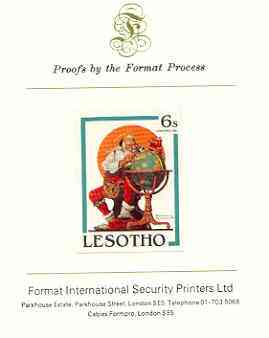 Lesotho 1981 Santa Planning his Annual Visit by Norman Rockwell 6s imperf proof mounted on Format International proof card