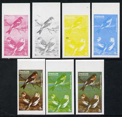 Eynhallow 1977 Birds #01 Brambling & Snow Bunting 3p set of 7 imperf progressive colour proofs comprising the 4 individual colours plus 2, 3 and all 4-colour composites u...