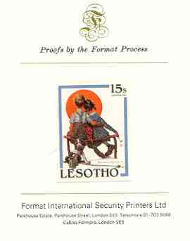 Lesotho 1981 The Little Spooners by Norman Rockwell 15s imperf proof mounted on Format International proof card
