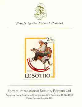 Lesotho 1981 Ride 'Em Cowboy by Norman Rockwell 25s imperf proof mounted on Format International proof card