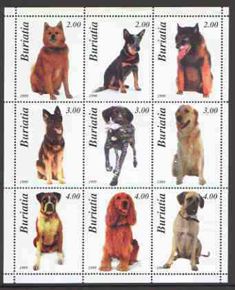 Buriatia Republic 2000 Dogs (various breeds) perf sheetlet containing complete set of 9 values unmounted mint