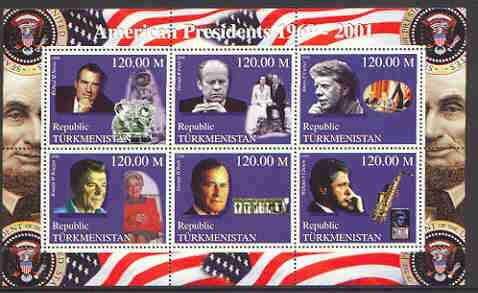 Turkmenistan 2000 US Presidents #01 perf sheet of 6 unmounted mint, containing Nixon, Ford, Carter, Regan, Bush & Clinton, background shows Space, Dog, Table Tennis & Sax.