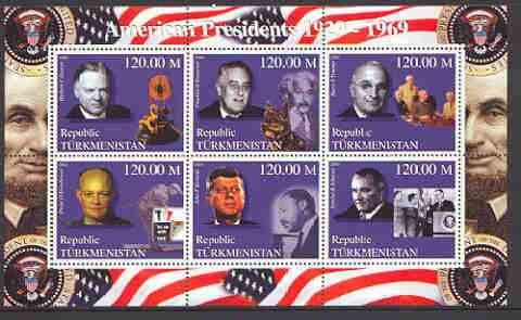 Turkmenistan 2000 US Presidents #02 perf sheet of 6 unmounted mint, containing Roosevelt, Hoover, Truman, Johnson, Eisenhower & Kennedy background shows Einstein, Dog, Go...
