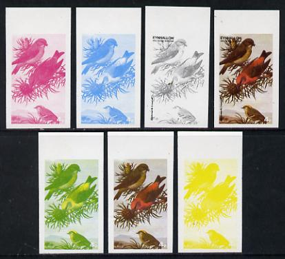 Eynhallow 1977 Birds #01 Goldcrest & Crossbill 4p set of 7 imperf progressive colour proofs comprising the 4 individual colours plus 2, 3 and all 4-colour composites unmo...