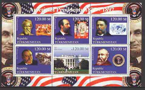 Turkmenistan 2000 US Presidents #03 perf sheet of 6 unmounted mint, containing Hayes, Garfield, Arthur, Cleveland & Harrison, background shows Trains, Horses, & Red Indians