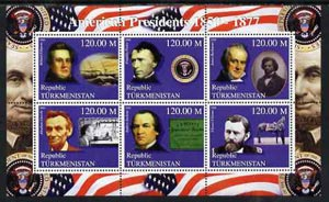 Turkmenistan 2000 US Presidents #04 perf sheet of 6 unmounted mint, containing Fillimore, Pierce, Buchanan, Grant, Lincoln & Jackson, background shows Ships, Horses & Walt Disney