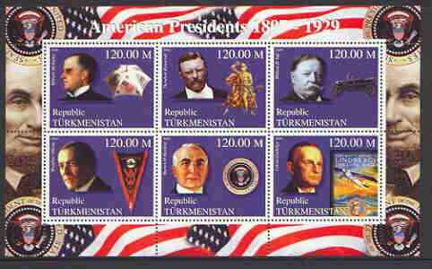 Turkmenistan 2000 US Presidents #06 perf sheet of 6 unmounted mint, containing McKinley, Roosevelt, Taft, Wilson, Harding & Coolidge, background shows Horses, Cars & Planes