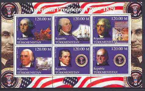 Turkmenistan 2000 US Presidents #07 perf sheet of 6 unmounted mint, containing Washington, J Adams, Jefferson, Madison, Monroe & J Q Adams, background shows Ships & Militaria