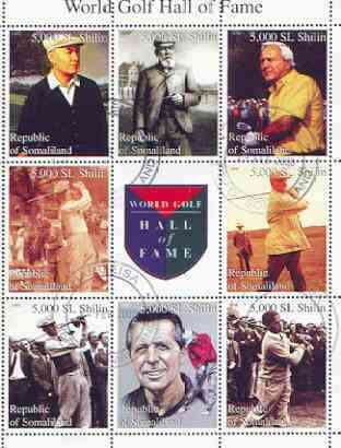 Somaliland 1999 Golf Hall of Fame perf sheetlet containing set of 8 values plus label fine cto used