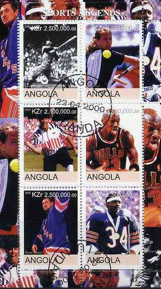Angola 2000 Sports Legends perf sheetlet containing 6 values (Steffi Graf, M Jordan, Joe DiMaggio, W Paxton, W Gretsky & P Stewart) fine cto used