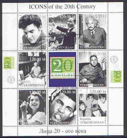 Turkmenistan 1999 Icons of the 20th Century #1 perf sheetlet containing set of 8 values  (Elvis, Einstein, Ali, Beatles etc) fine used