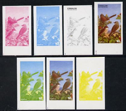 Eynhallow 1977 Birds #01 Whitethroat 10p set of 7 imperf progressive colour proofs comprising the 4 individual colours plus 2, 3 and all 4-colour composites unmounted min...