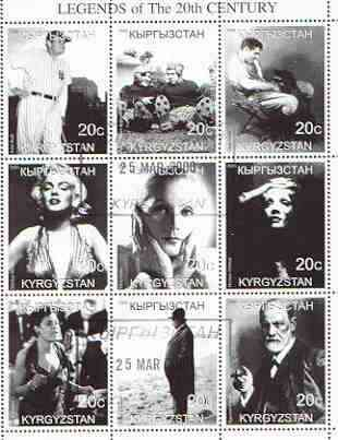 Kyrgyzstan 2000 Legends of the 20th Century perf sheetlet containing set of 9 values fine used (Babe Ruth, Burns & Allen, C Gable, Marilyn, Einstein, Billie Holiday, Freud etc)