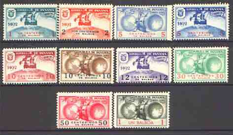 Panama 1936c Columbus set of 10 unmounted mint (prepared for use but never issued)