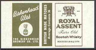 Match Box Labels - Royal Assent (Scotch Whisky) 'All Round the Box' matchbox label in superb unused condition