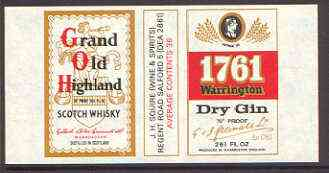 Match Box Labels - Grand Old Highland Scotch Whisky (& Warrington Gin) 'All Round the Box' matchbox label in superb unused condition