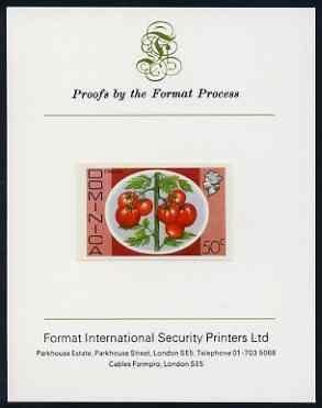 Dominica 1975-78 Tomatoes 50c imperf proof mounted on Format International proof card (as SG 503)