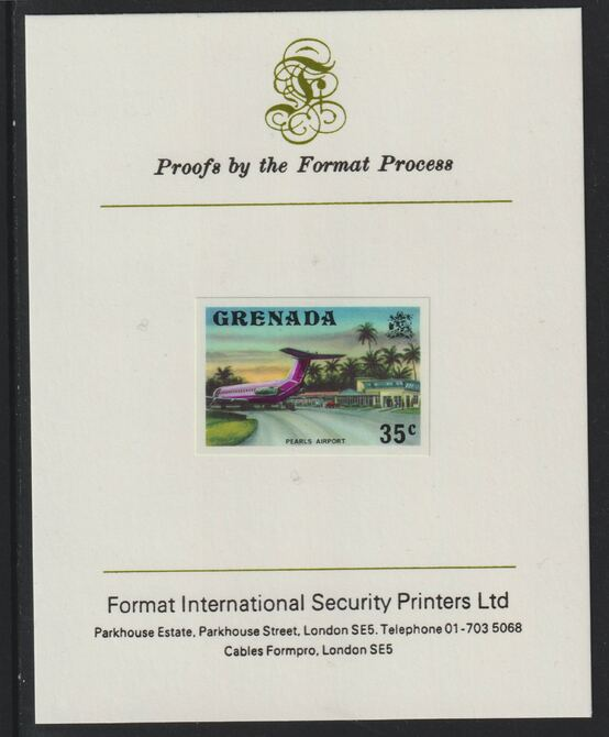 Grenada 1975 Pearls Airport 35c imperf proof mounted on Format International proof card (as SG 661)
