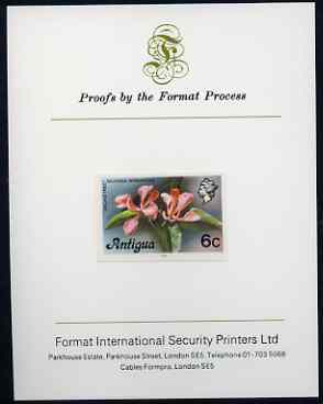 Antigua 1976 Orchid Tree 6c (with imprint) imperf proof mounted on Format International proof card (as SG 475B)