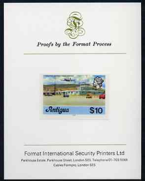 Antigua 1976 Coolidge Airport $10 (with imprint) imperf proof mounted on Format International proof card (as SG 486B)